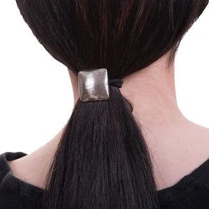 Square Convex Metal Hair Tie, Silver
